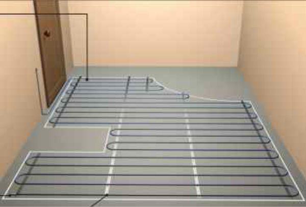 Схема расположения электрического греющего кабеля в ванной