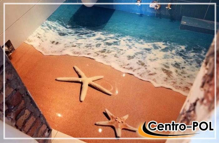 3d полы имитирующие морское побережье