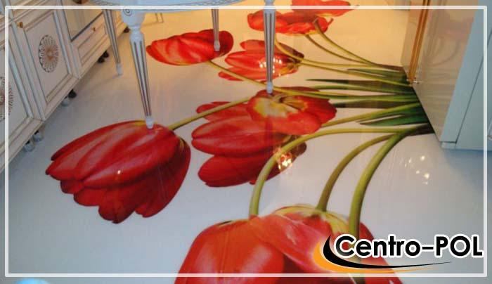 3d полы с изображением в виде цветов