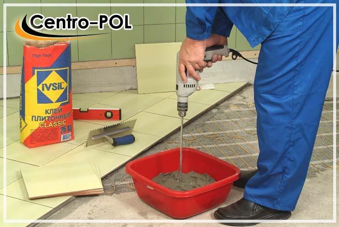 Процесс приготовления сухого клея для плитки