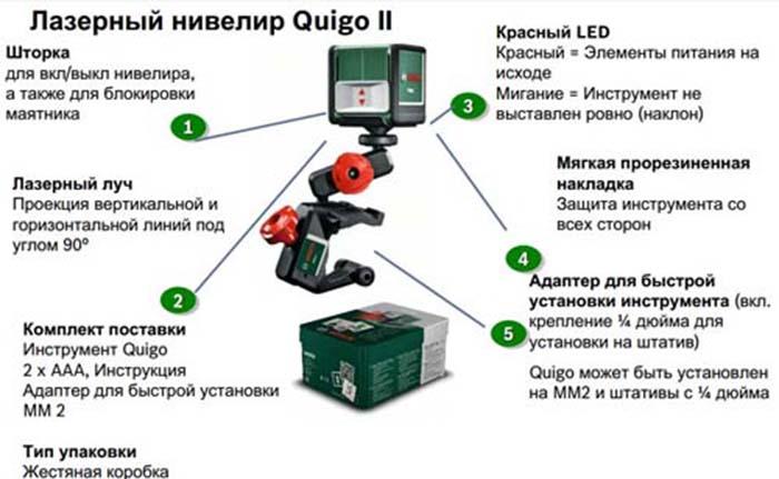 Бытовой лазерный уровень Bosch Quigo II