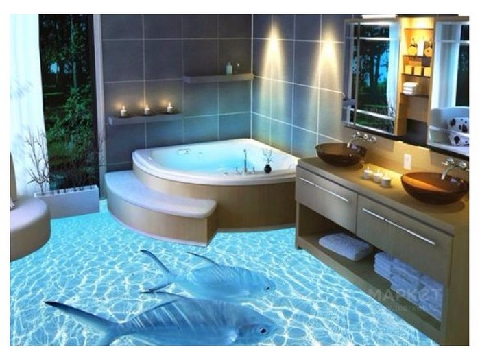 3д полы в ванной фото цена