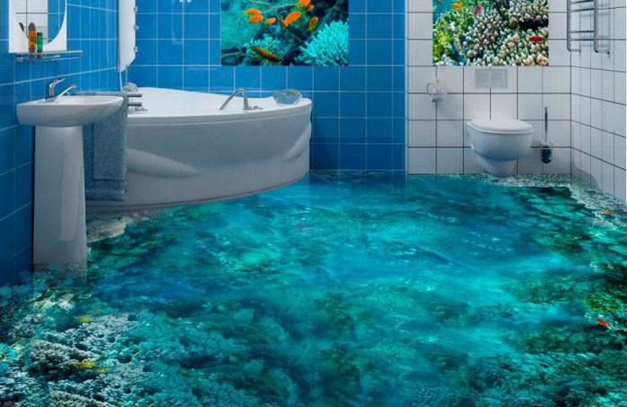 наливной пол в ванной комнате фото