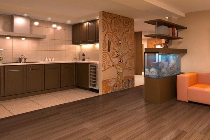 комбинированный пол на кухне плитка и линолеум