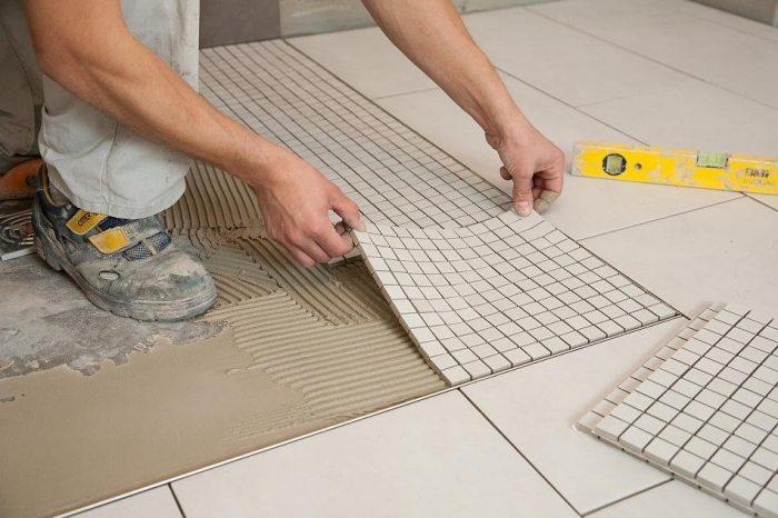 укладка плитки мозайки