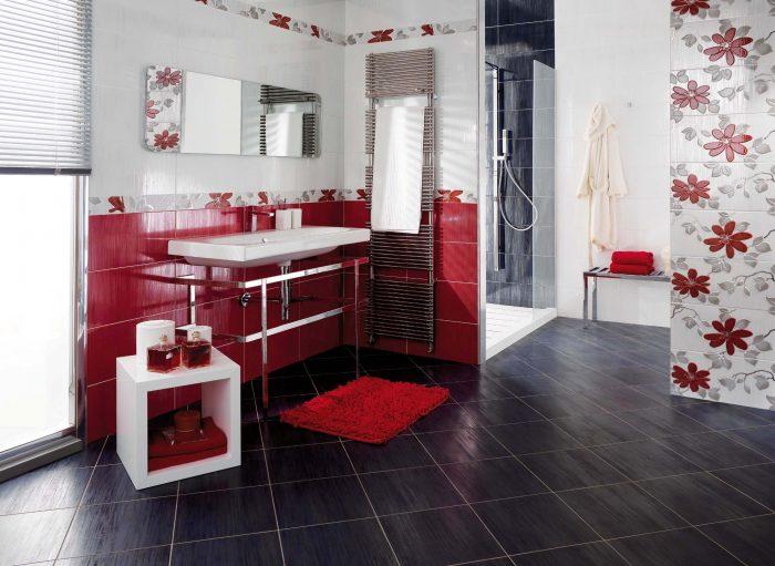 яркие акценты для ванной с черным полом