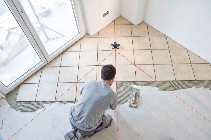 укладка керамической плитки на пол по диагонали