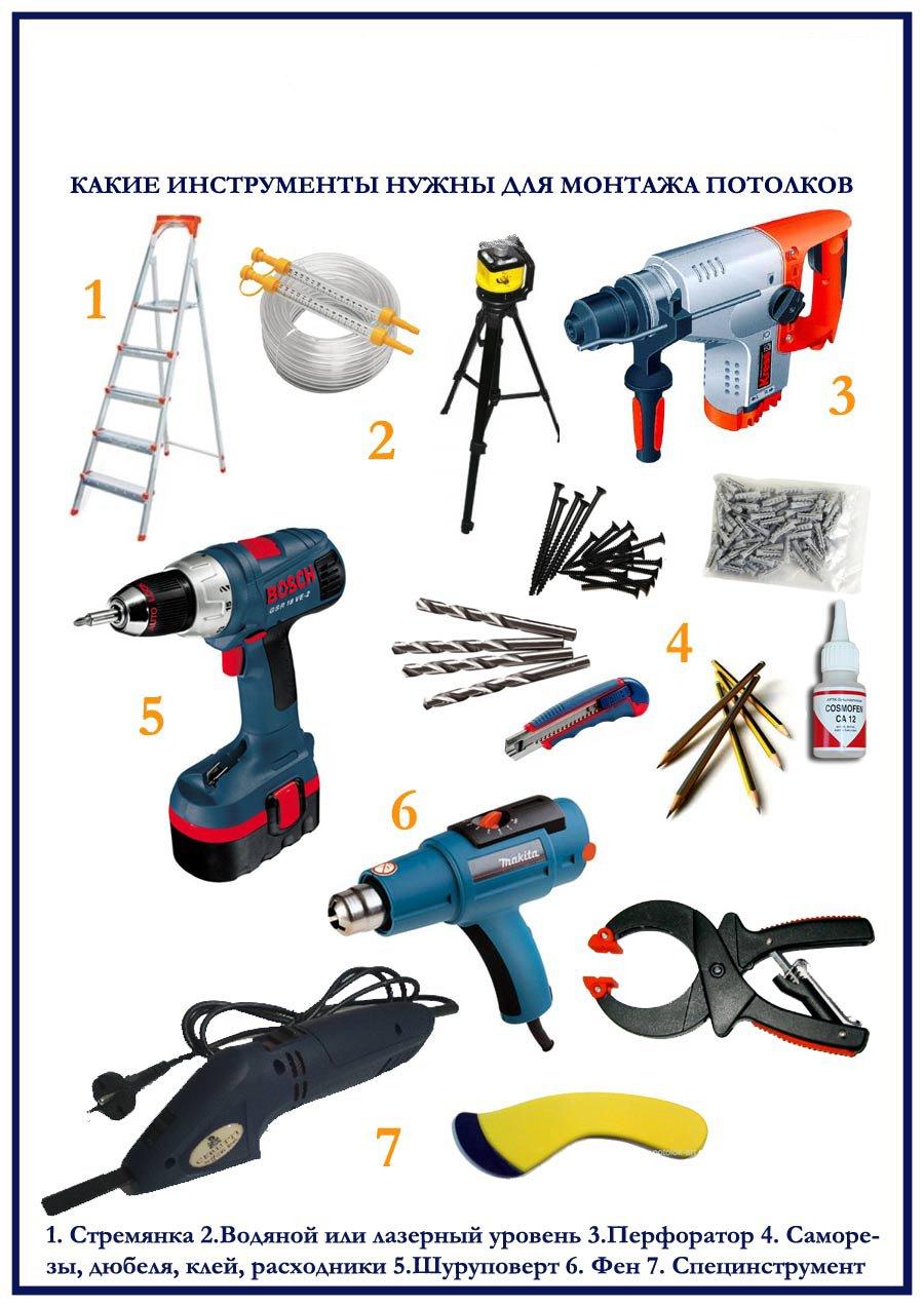 инструменты для монтажа потолков