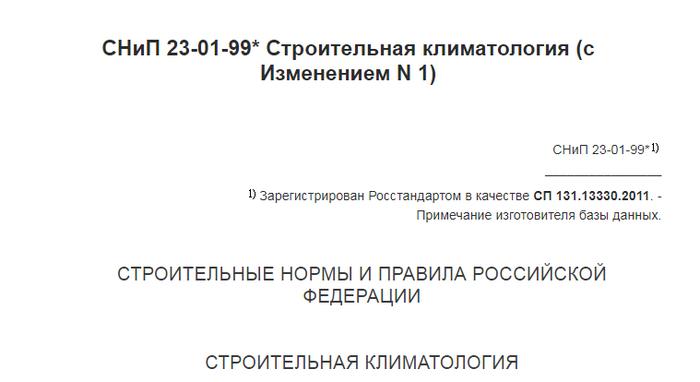 СНиП номер 23-01-99