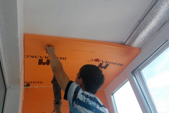 шумоизоляция потолка пеноплексом