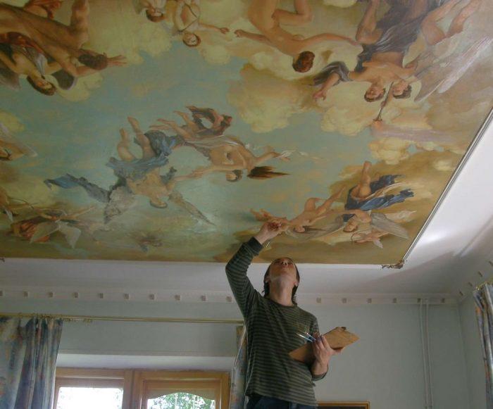 как наносить рисунок на потолок