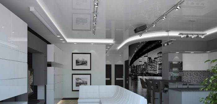 гипсокартонные потолки в стиле хай тек