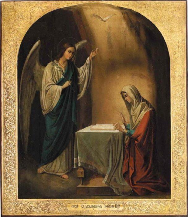 Благовещение Пресвятой Богородицы в иконе