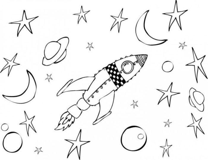 Детская раскраска День космонавтики