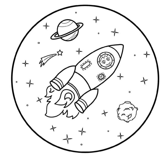 День космонавтики раскраска