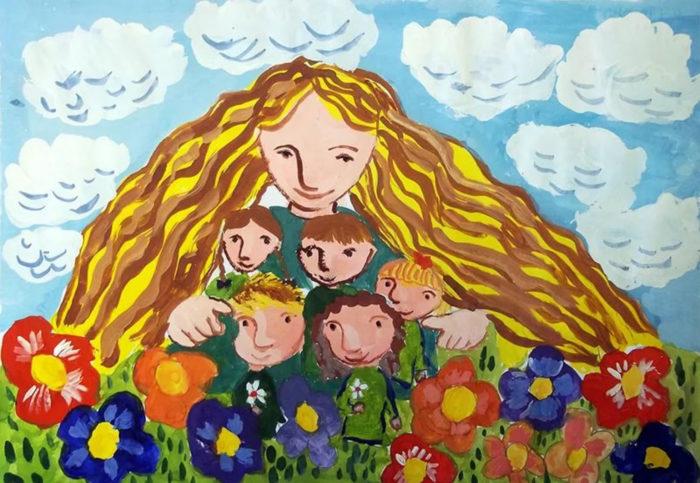 детский рисунок ко дню матери