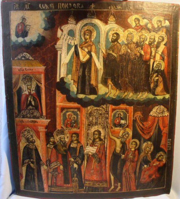 Покров Пресвятой Богородицы икона XVIII век