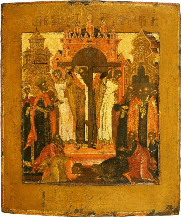 икона с изображением воздвижения креста господня