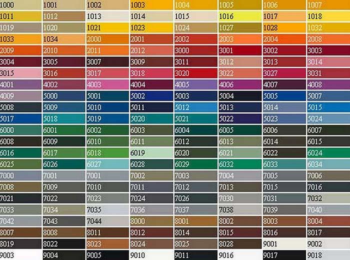 таблица цветов для наливного пола