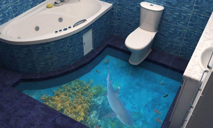 3d полы в ванной фото