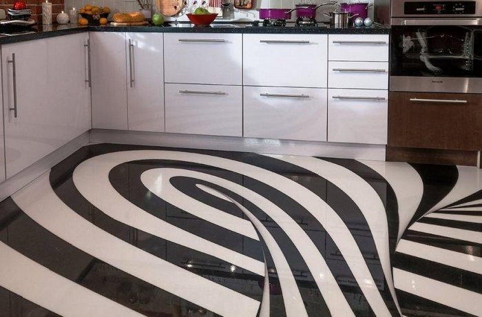 современные напольные покрытия для кухни